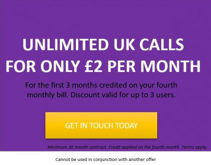 Black Friday Offer: Unlimited UK Calls for £2PM.